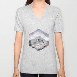 Have Faith Inspirational Typography Over Mountain Unisex V-Neck