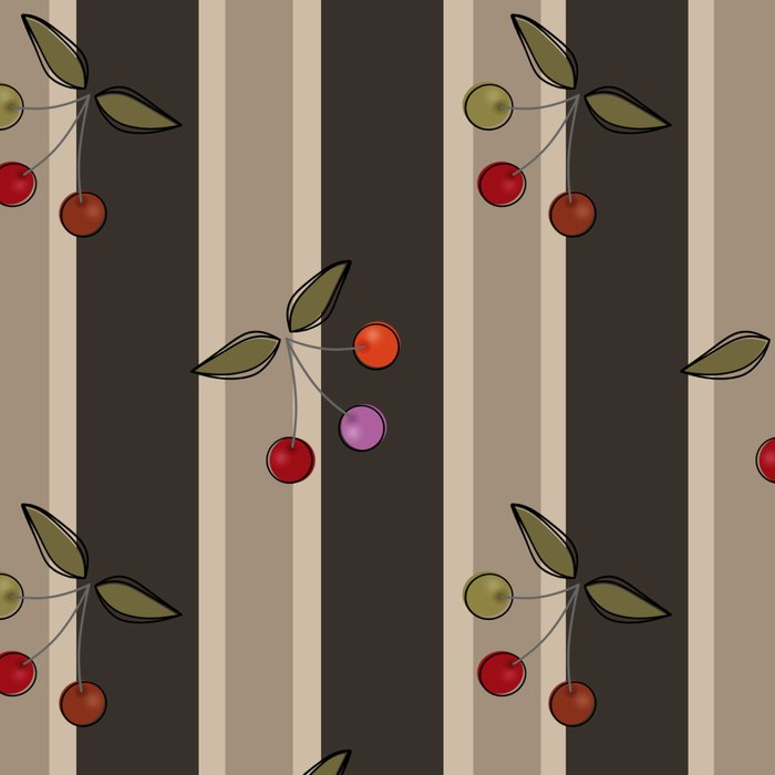 Colorful cherries on a brown striped background . Retro . Leggings
