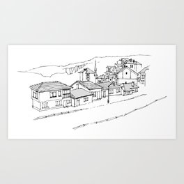 town in the mountains Art Print