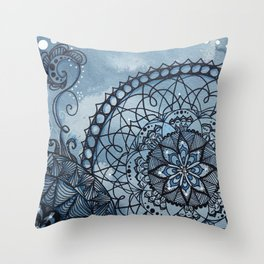 Payne's gray mandala Throw Pillow