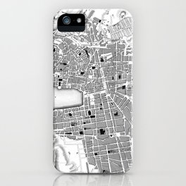 Vintage Map of Marseille France (1840) BW iPhone Case