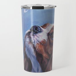 Beautiful Blenheim Cavalier King Charles Spaniel Dog Painting by L.A.Shepard Travel Mug