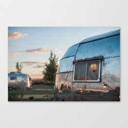 Vintage Airstream Sunset Reflection Canvas Print