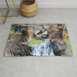 Sparring Grizzly Bears Rug
