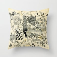 Grotesque Flora and Fauna Throw Pillow