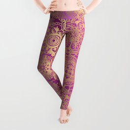 Pink and Gold Mandala Pattern Leggings