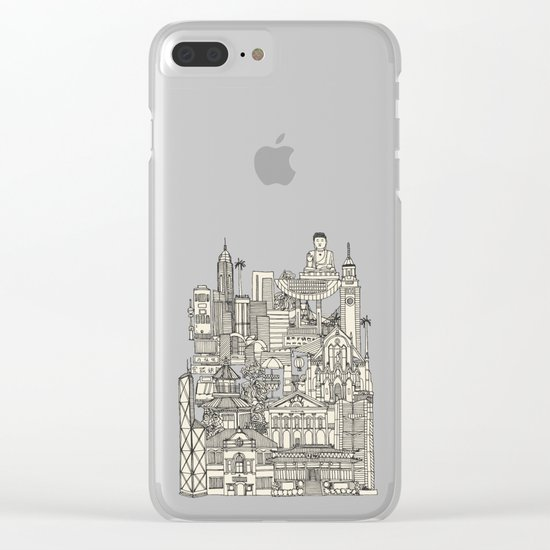 Hong Kong toile de jouy chartreuse Clear iPhone Case
