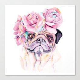 Flower Pug Canvas Print