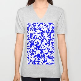 Spots - White and Blue Unisex V-Neck