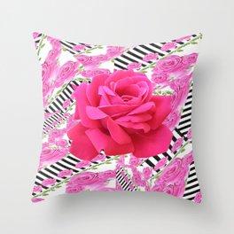 MODERN ABSTRACT CERISE PINK ROSE GARDEN  ART Throw Pillow