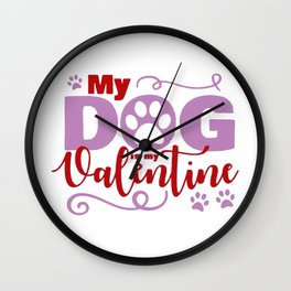 Dog Valentine Wall Clock