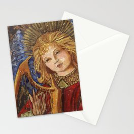Figure Painting Angel with Harp Stationery Cards