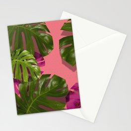 """Tropical monstera polka dots pastel pink"" Stationery Cards"