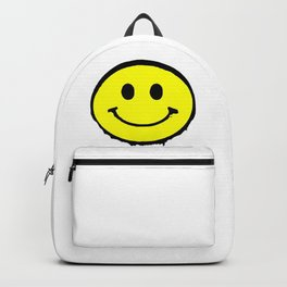 smiley face rave music logo Backpack