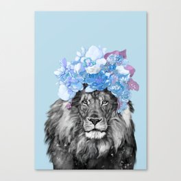 Lion with flowers Canvas Print