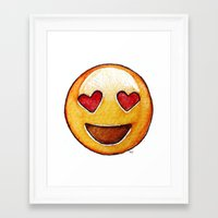 emoji Framed Art Prints featuring Emoji by Willow's Art