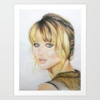 jennifer lawrence Art Prints featuring Jennifer Lawrence by Pritish Bali