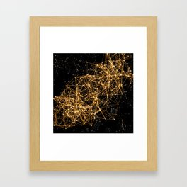 Shiny golden dots connected lines on black Framed Art Print