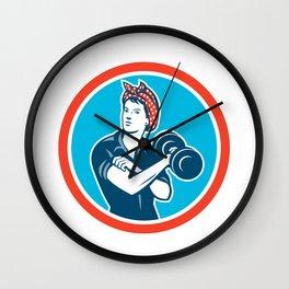 Bandana Woman Lifting Dumbbell Circle Retro Wall Clock