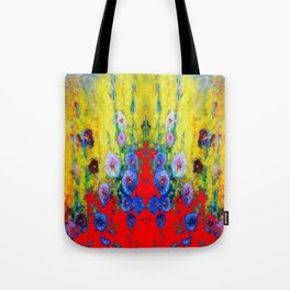 BLUE HOLLYHOCKS YELLOW & RED GARDEN MODERN ART Tote Bag