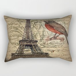 I love Paris Shabby chic Robin French Scripts Jubilee Crown Vintage Paris Eiffel Tower Rectangular Pillow