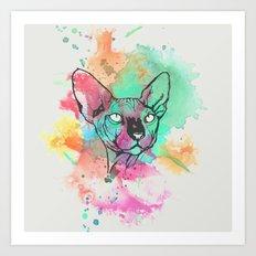 Watercolor Sphynx Art Print