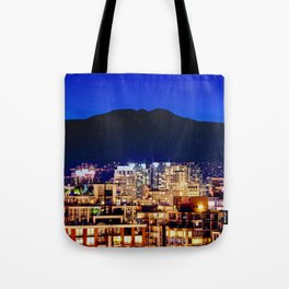 Blue Twilight Sky - Shangri La Hotel and Vancouver Grouse Mountain British Columbia Canada Travel Tote Bag