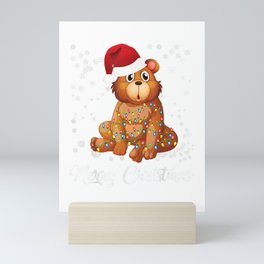 Merry Christmas Bear Ugly Sweater Santa Claus Xmas Mini Art Print