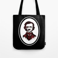 poe Tote Bags featuring Poe by Brit Austin Illustration