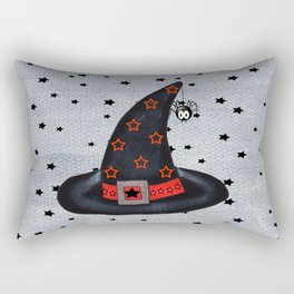 Black Witch Hat Silver Buckle Black Stars Cute Dangling Spider Rectangular Pillow