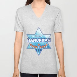 Hanukkah Candles tonight Unisex V-Neck