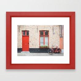 Red Door and Bike, Bruges Framed Art Print