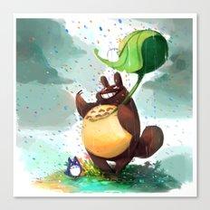 Totoro Rainbow rain Canvas Print