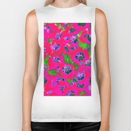 blooming pink flower with green leaf background Biker Tank