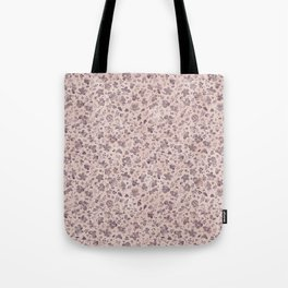 Ditsy Lilac Field of Petals on Pink,  Tiny Floral Pattern Tote Bag