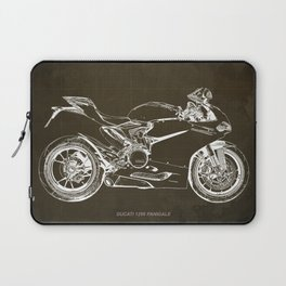 Motorcycle blueprint, Superbike 1299 Panigale, 2015,brown background, gift for men, classic bike Laptop Sleeve