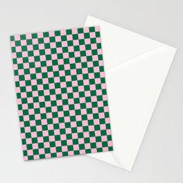 Cotton Candy Pink and Cadmium Green Checkerboard Stationery Cards