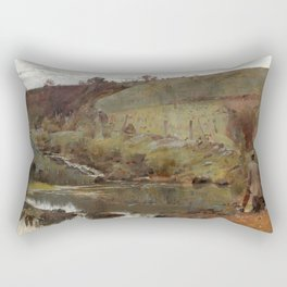 Tom Roberts - A quiet Day on Darebin Creek - Australian Oil Painting Rectangular Pillow