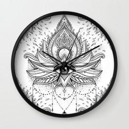 Lotus flower + All seeing eye. Wall Clock