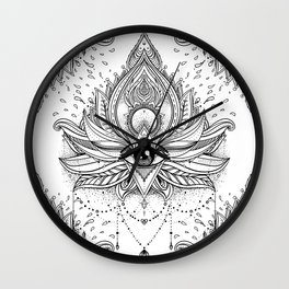 Lotus flower + All seeing eye. Wall Clock