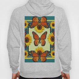 Teal & Orange Monarch Butterflies  Sunflower Patterns Art Hoody