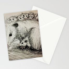 Family of Opossums Stationery Cards