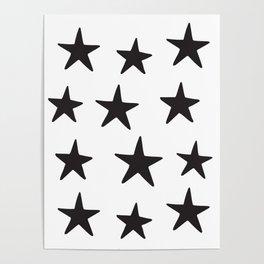 Star Pattern Black On White Poster