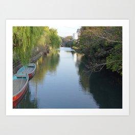 yanagawa canal boats Art Print