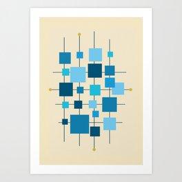 Mid-Century Modern Geometric Abstract Squares - Blue Art Print
