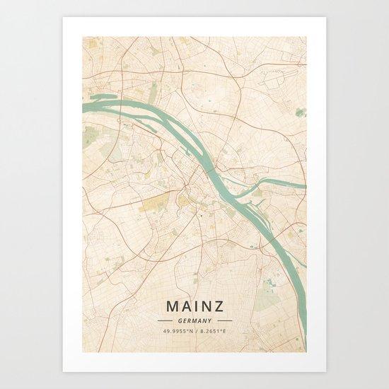 Mainz Germany Vintage Map Art Print By Designermapart Society6