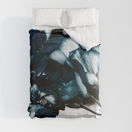 Deep Ocean Teal Flowers : Pop of Color Comforters