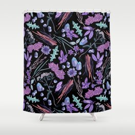 Purple flowers and jewels. Shower Curtain
