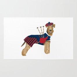 Airedale Terrier Bagpiper dog welsh terrier dog tartan dog funny dog illustration Rug