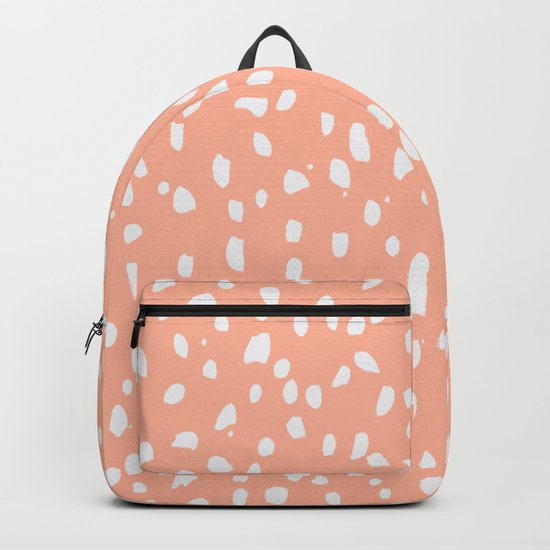 Handdrawn Polka Dot Pattern - White on Peach by peladesign